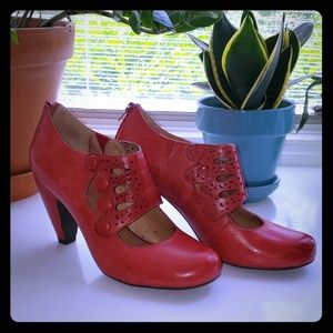 Miz Mooz Red Heels with Victorian Accent